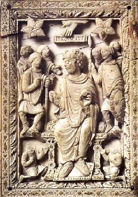 Plaque depicting King David enthroned, from Reims