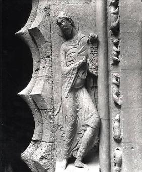 French School  - The prophet Isaiah unrolling a phylactery, from the south portal