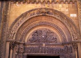 Tympanum of the porch depicting Christ in Majesty with the Symbols of the Evangelists