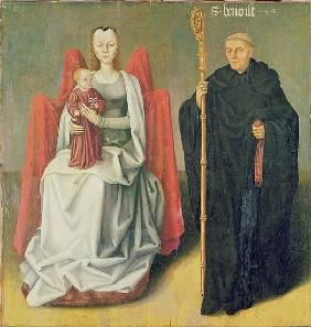 Virgin and Child with St. Benedict, from the Priory of St. Hippolytus of Vivoin