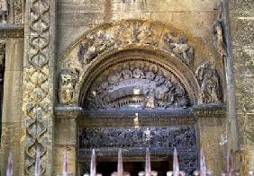 Western opening tympanum depicting the Marriage at Cana (photo)