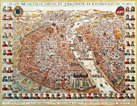 Plan of Paris, bordered by a chronological series of portraits of the kings of France from Pharamond