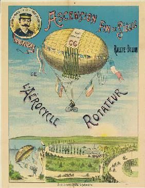 'L'Aerocycle Rotateur', advertising poster for the hot-air balloon bicycle