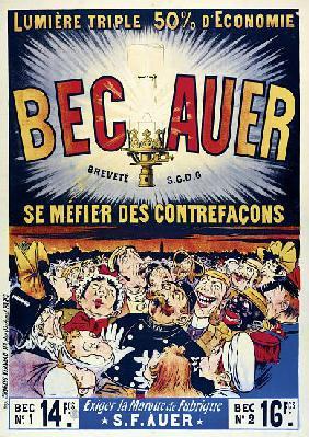 Poster advertising 'Becauer' petroleum lamps, printed by Charles Verneau