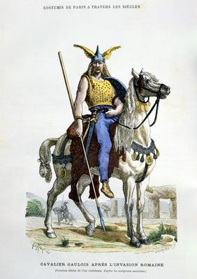 A Gaulish warrior after the invasion of Rome, illustration from 'Costumes de Paris a Travers les Sie