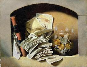 A trompe l'oeil of paper money, coins and a broken glass jar in a niche (oil on canvas)