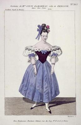 Costume for Madame Cinti Damoreau in the Role of Zerlina in 'Don Giovanni', engraved by Maleuvre, pr
