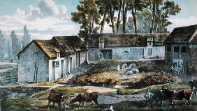 Mr Vandercolme's farm at Armbouts-Cappel (Nord) before the improvement of the manure pit, 1867 (colo