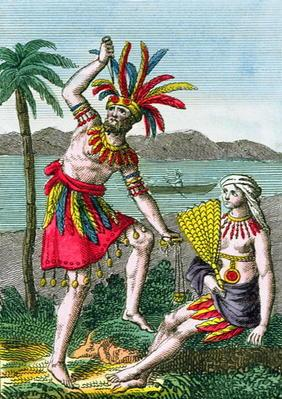 Native inhabitants of the Marquesas Islands, illustration from 'Histoire des Voyages Autour du Monde