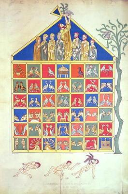 Noah's Ark, facsimile of an original 12th century manuscript, 19th century (colour litho)