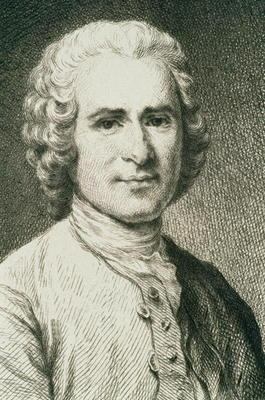 Portrait of Jean Jacques Rousseau (1712-78) French philosopher (engraving)