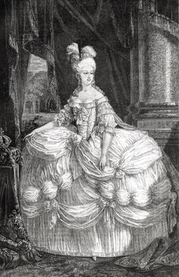 Portrait of Marie Antoinette (1755-93) (engraving)
