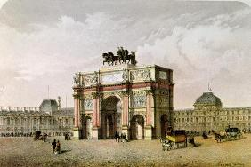 Postcard of the Arc de Triomphe du Carrousel, Paris (colour litho)
