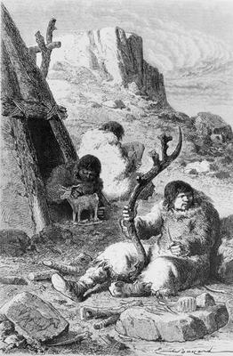 Prehistoric artists, from 'L'Homme Primitif' by Louis Figuier, published Hachette, 1870 (engraving)
