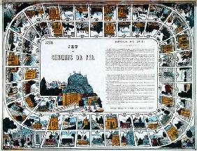 Snakes and ladders of Railways, 19th century (colour engraving)