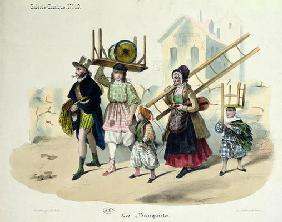 The Banquistes, c.1820-30 (colour litho)