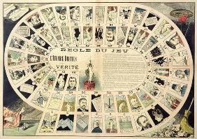 The Dreyfus Affair Game, with portraits of the various individuals involved, late 19th century (colo