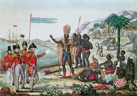 The English informing the Africans about the Treaty of Paris and the abolition of slavery, after 181