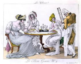 The Ice Cream, plat 4 from 'Le Bon Genre', Paris, 1827 (coloured engraving)