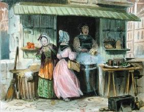 The merchant of 'oublies' in Paris, 1st half 19th century (colour litho)