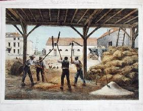 Threshing corn, illustration from a school textbook 'Enseignement par les yeux', 2nd half 19th centu