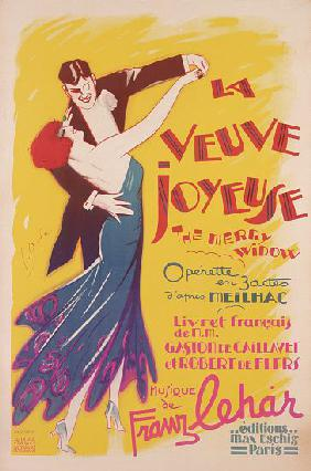 Poster advertising a production of the 'Merry Widow', by Franz Lehar , printed by Dola, Paris