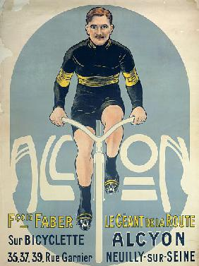 Poster depicting Francois Faber on his Alcyon bicycle