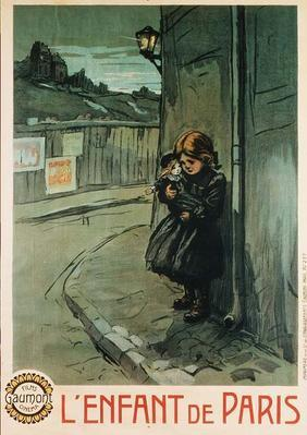 Poster advertising the film 'L'Enfant de Paris', produced by Gaumont Cinema Films (colour litho)