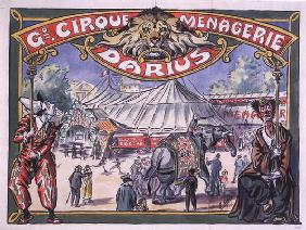 Poster advertising the 'Grand Cirque Menagerie Darius', 1924 (w/c on paper)