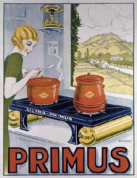 Poster advertising the Primus hob, printed by Dampenon & Elarue (colour litho)