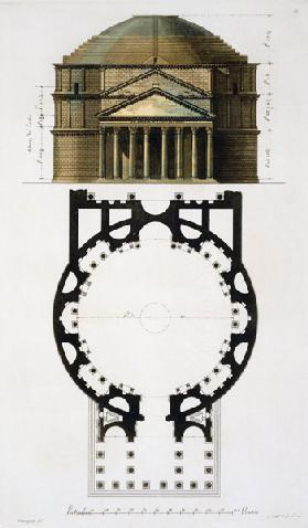 Ground plan and facade of the Pantheon, Rome, from 'Le Costume Ancien et Moderne' by Jules Ferrario,