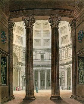 Interior of the Pantheon, Rome, from 'Le Costume Ancien et Moderne' by Jules Ferrario, engraved by G