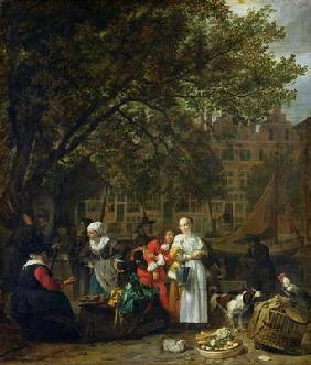 A Herb Market in Amsterdam (oil on canvas)