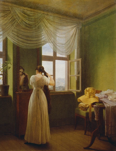 In front of the mirror georg friedrich kersting for Devant le miroir