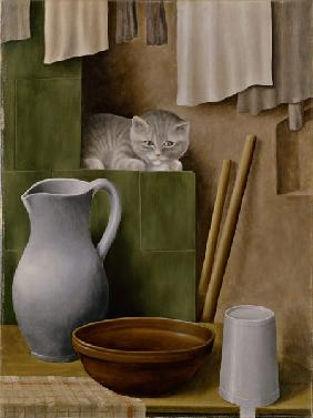 nature morte avec le chat