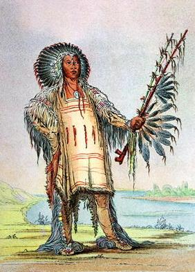 Mandan Indian Ha-Na-Tah-Muah, Wolf chief (colour litho)