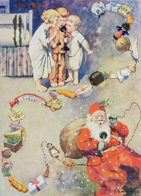 """Hullo Santa!"" from Blackies Childrens Annual, Nineteenth Year Book (book illustration)"