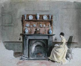 Kilburne George Goodwin - Lady Seated by Fireplace