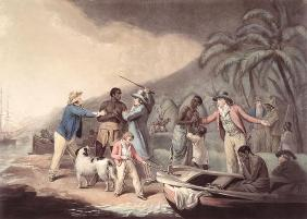 The Slave Trade, engraved by J.R. Smith (coloured engraving)