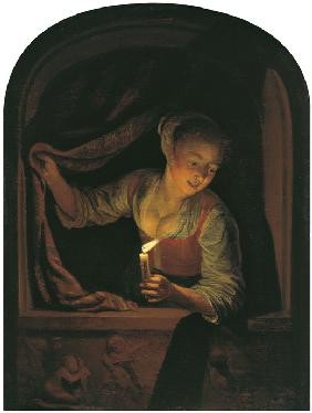 Dou, Gerard : Woman with a lighted Candl...