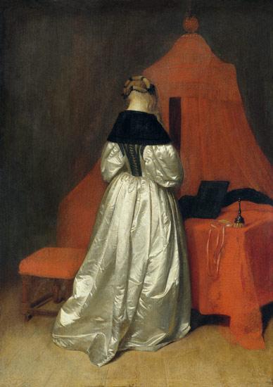 eine dame in weissem atlas vor dem bett gerard ter borch or terborch. Black Bedroom Furniture Sets. Home Design Ideas