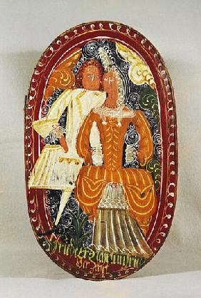 Marzipan box depicting a man and woman, c.1660 (painted wood)