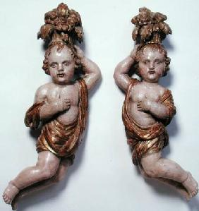 Pair of Cherubs (carved wood)
