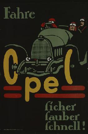 German advertisement for Opel car manufacturer, printed by Hollerbaum und Schmidt, Berlin