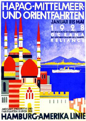 'HAPAG Mediterranean and Orient Cruises', poster advertising the Hamburg American Line