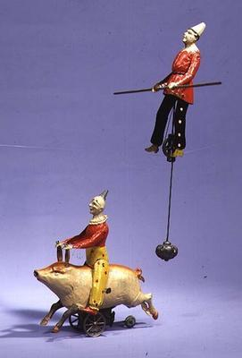 Clown on mechanical pig and tightrope walker, c.1900