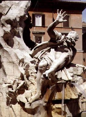 The Fountain of the Four Rivers, detail of figure representing the river Plate