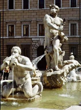 The Moro Fountain, detail of river gods and monsters