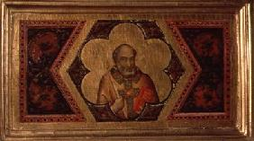 Bishop from the Coronation of the Virgin Polyptych (far left predella)