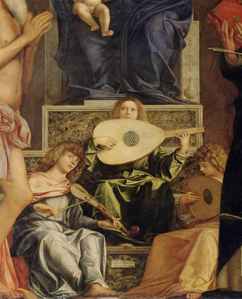 The San Giobbe Altarpiece, detail of music-making angels